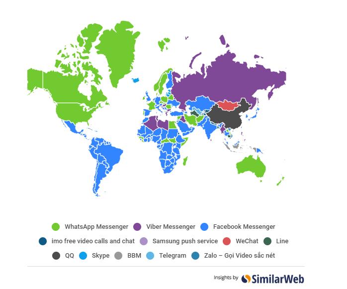 Второй по популярности мессенджер, декабрь 2017, Android. Данные Similarweb