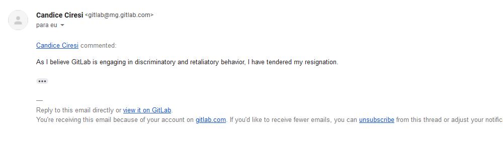 Сообщение Кэндис Чирези об увольнении